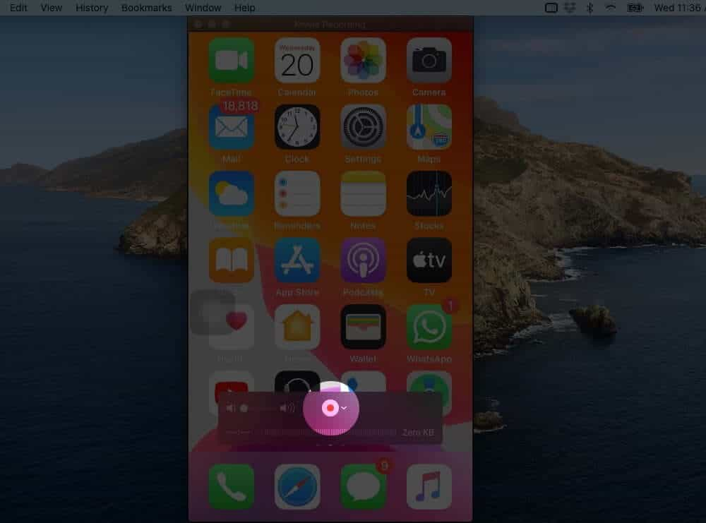 Click on Record Button to Start iPhone Screen Recording on Mac