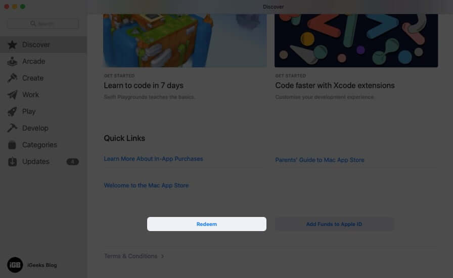 Click on Redeem in App Store on Mac