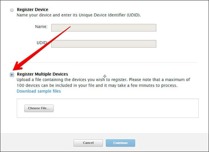 Click on Register Multiple Devices