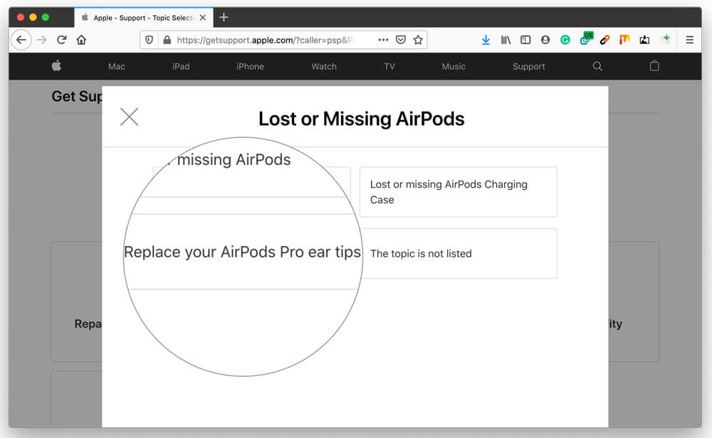 Click on Replace AirPods Pro ear tips to continue Lost AirPods with Apple support web page