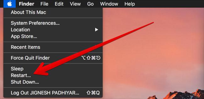 Click on Restart on Mac