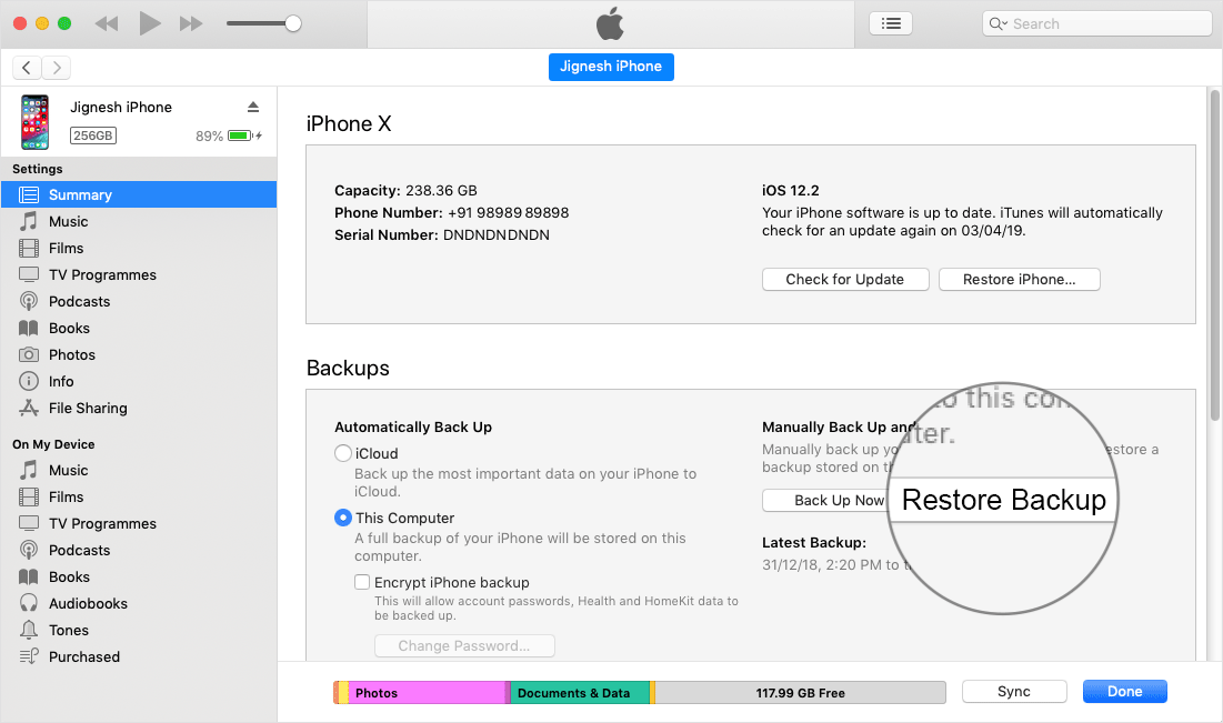 Click on Restore Backup in iTunes