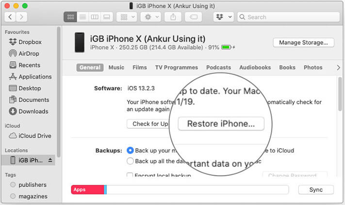 Click on Restore iPhone in Finder on Mac