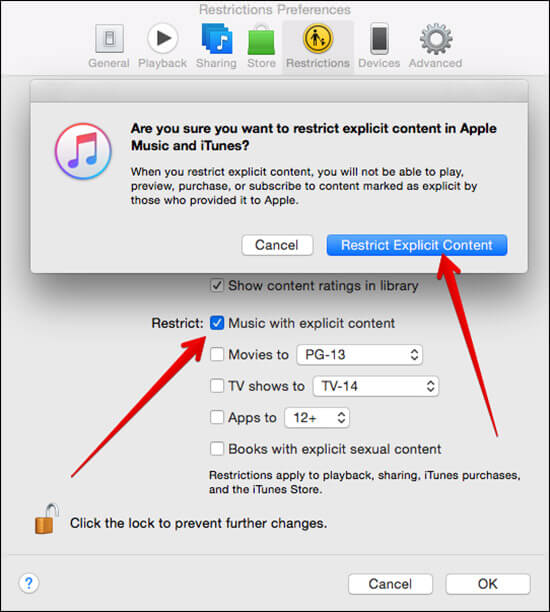 Click on Restrict Explicit Content in iTunes Preferences