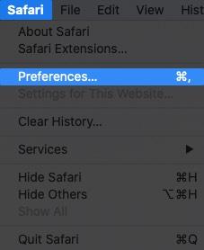 Click on Safari and Select Preferences on Mac