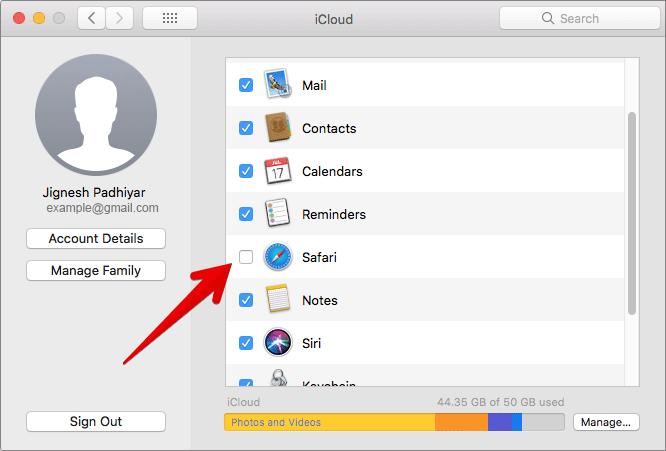 Click on Safari in iCloud Settings on Mac