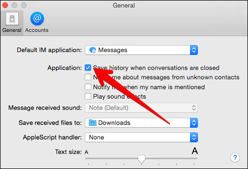 Click on Save History When Conversation are Closed in Mac