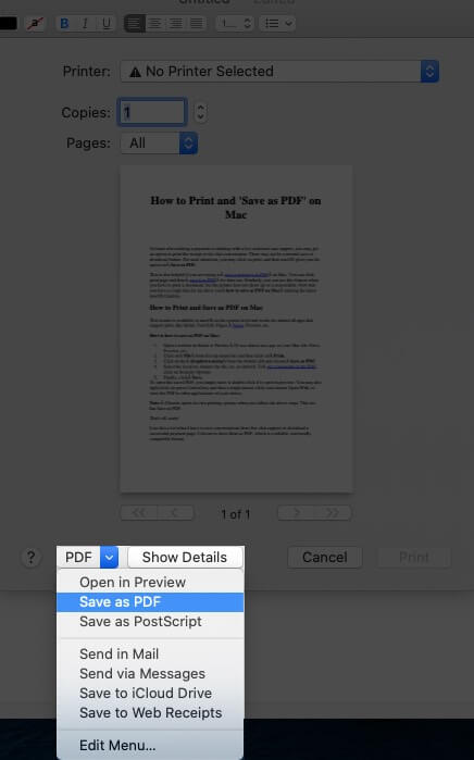 Click on Save as PDF on Mac