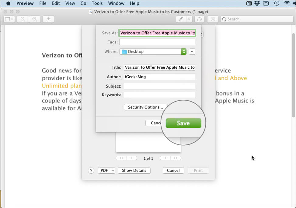 Click on Save in PDF Preview App on Mac