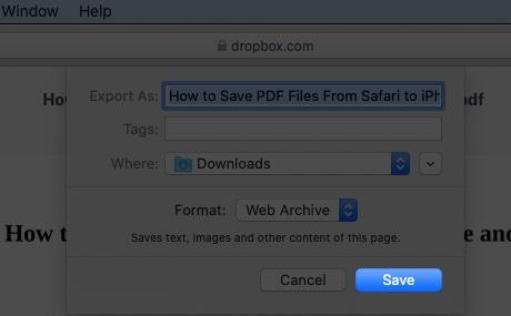 Click on Save to Download PDF Files in Safari on Mac