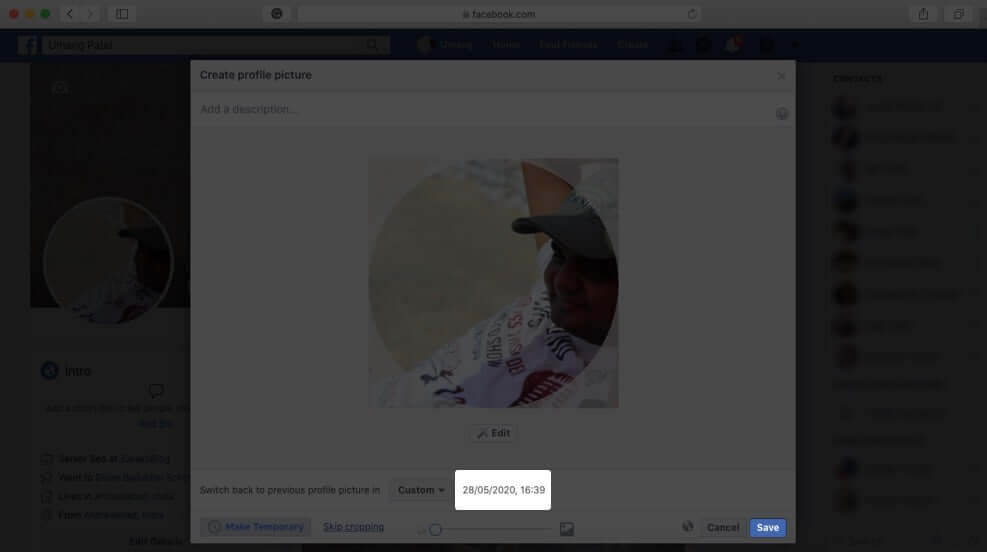 Click on Save to Set Temporary Profile Picture on Facebook From Mac