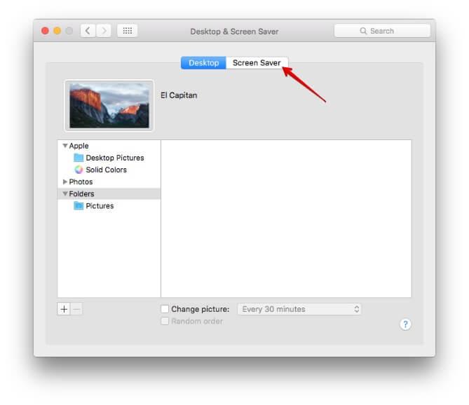 Click on Screen Saver Tab in Mac