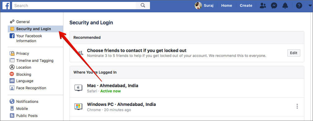 Click on Security and Login in Facebook Account Settings on Computer