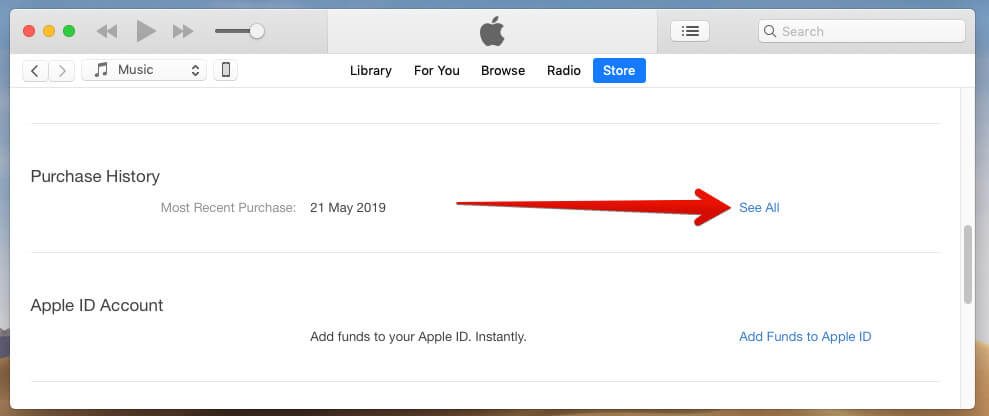 Click on See All in Purchase History in iTunes