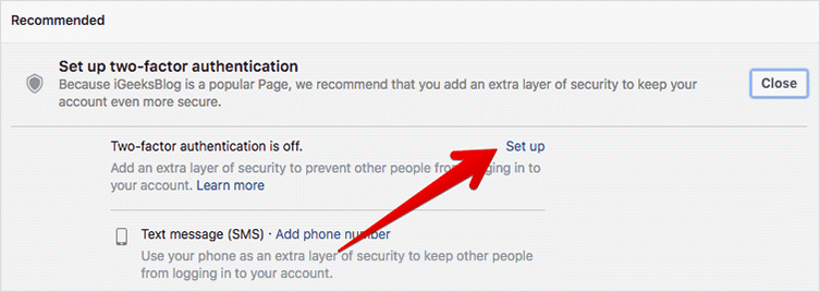 Click on Set up on Facebook on Mac or Windows PC