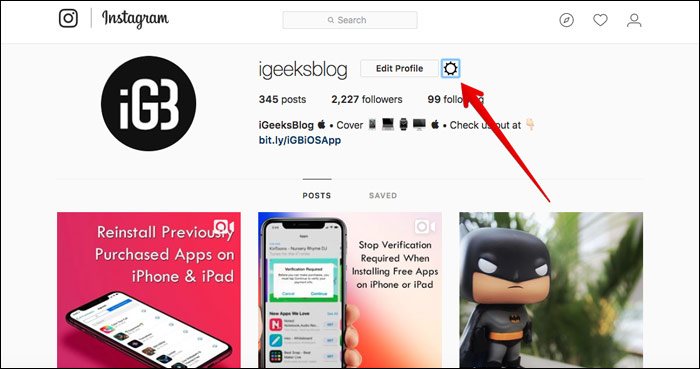 Click on Settings Icon in Instagram Web