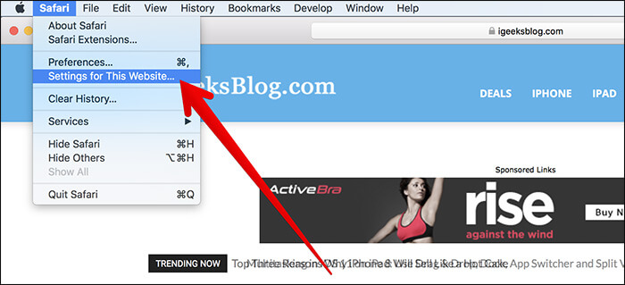 Click on Settings for This Site in Safari on Mac