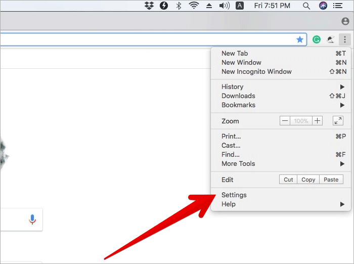 Click on Settings in Chrome on Mac or Windows PC