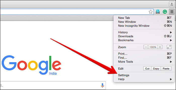 Click on Settings in Chrome on Mac