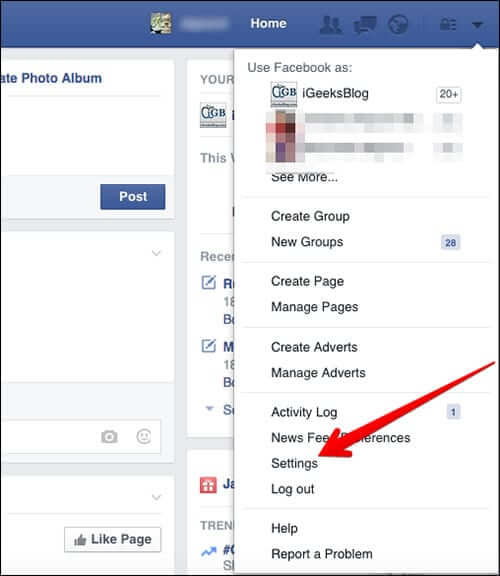 Click on Settings in Facebook
