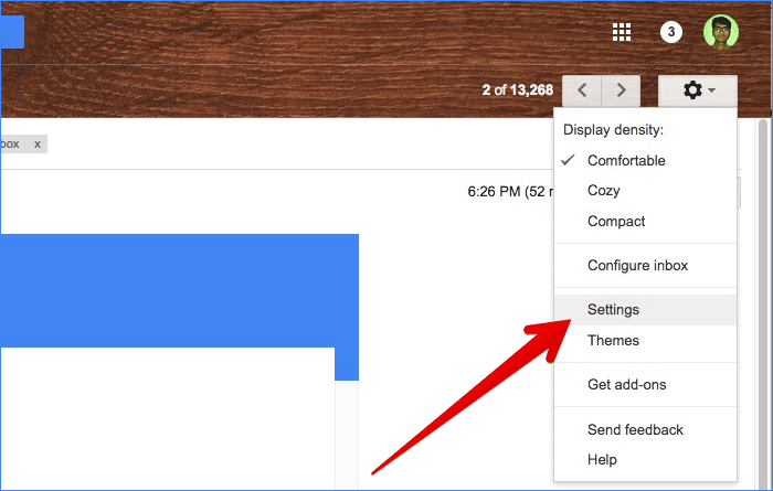 Click on Settings in Gmail on Computer