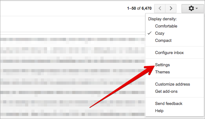 Click on Settings in Gmail on Mac or Windows PC