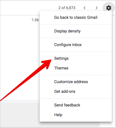 Click on Settings in Gmail on Web