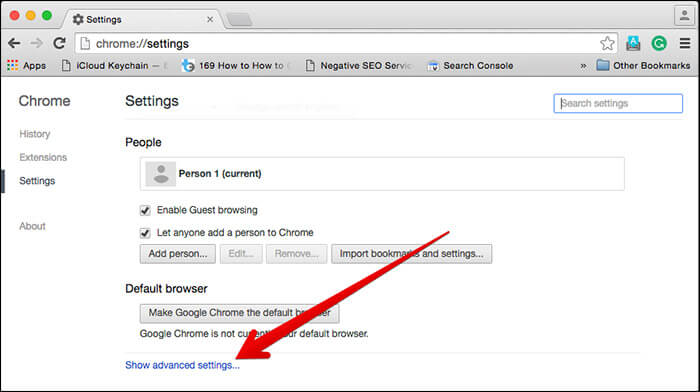Click on Show Advanced Settings in Chrome on Mac