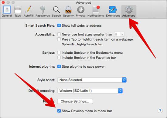Click on Show Develop Menu in Menu Bar in Safari Preferences on Mac
