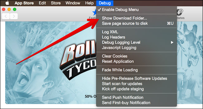 Click on Show Download Folder in Mac App Store