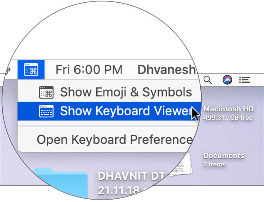 Click on Show Keyboard Viewer in Mac Menu bar
