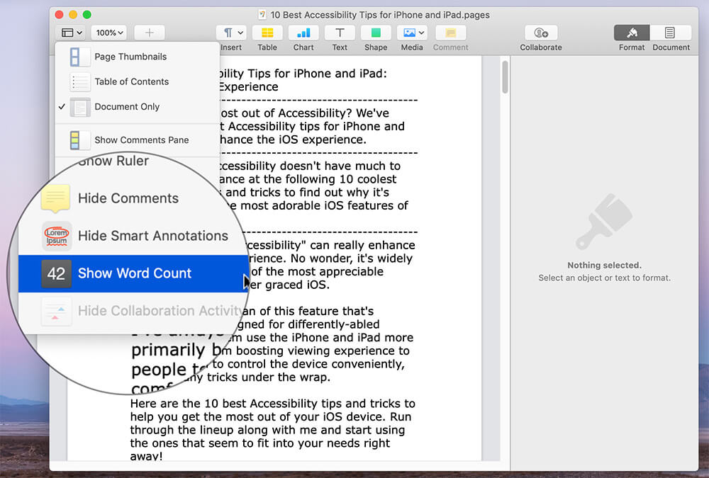 Click on Show Word Count in Pages app on Mac