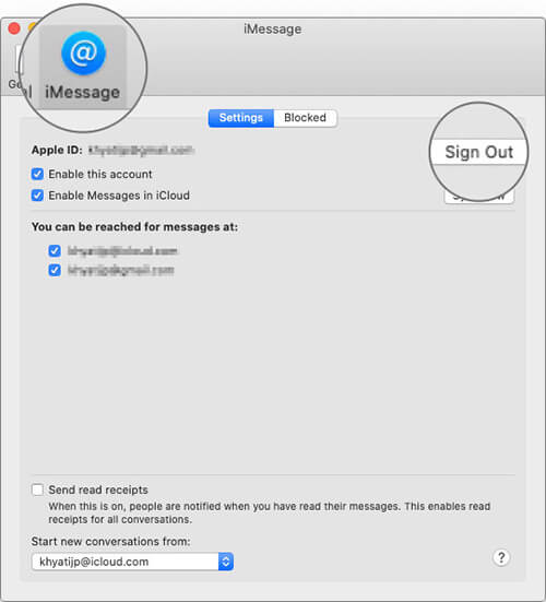 Click on Sign Out in iMessage Tab on Mac