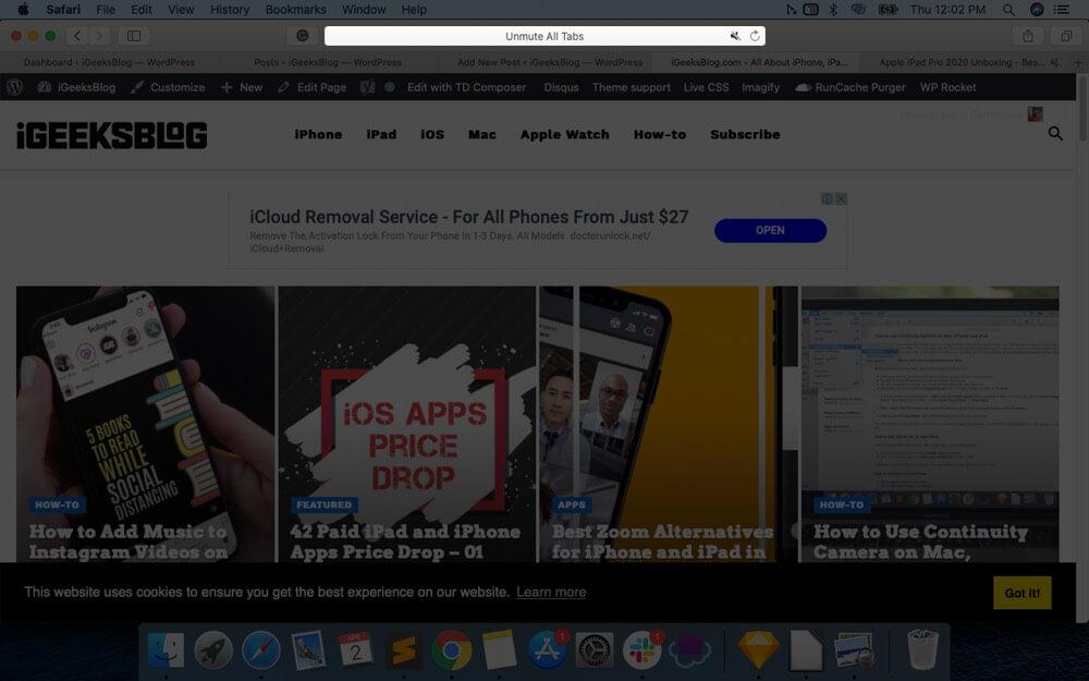 Click on Speaker icon to Unmute All Tabs in Safari on Mac