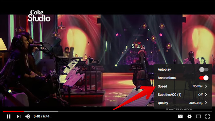 Click on Speed in YouTube Settings on Mac or Windows PC