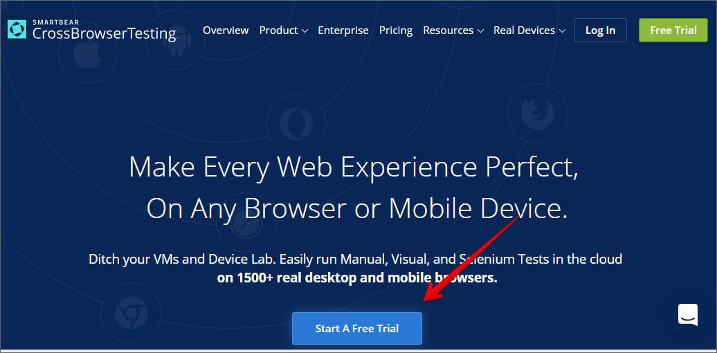 Click on Start A Free Trail to Create Account in Crossbrowsertesting Web