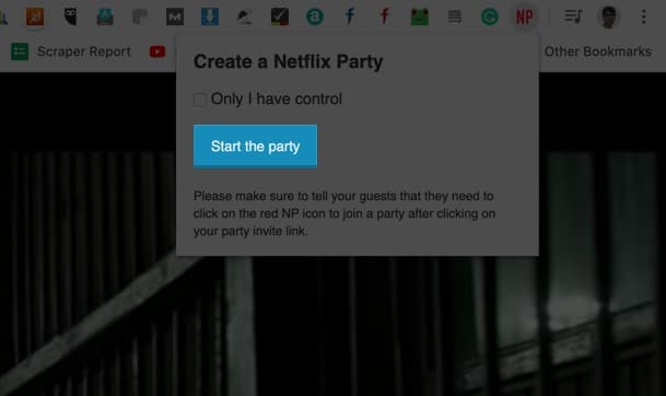 Click on Start Party