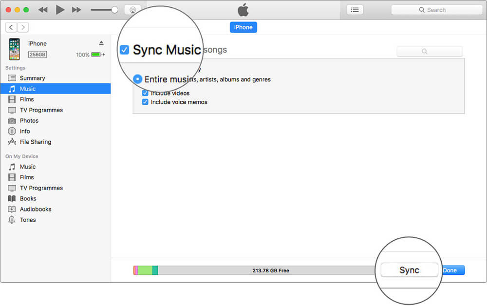 Click on Sync to Transfer Music from Android to iPhone in iTunes