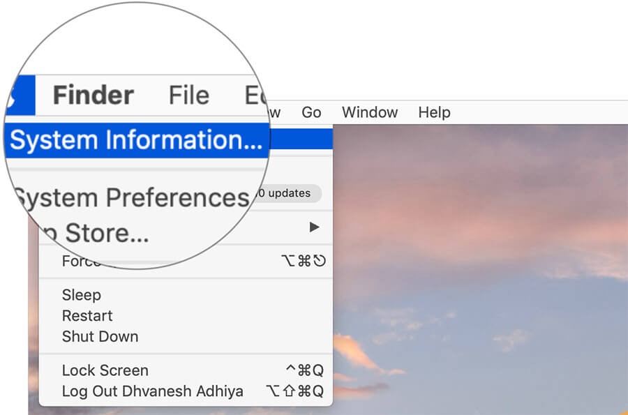 Click on System Information on Mac