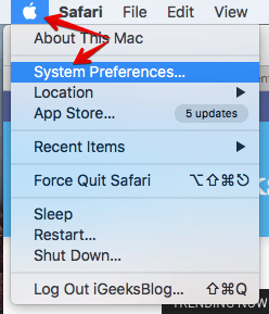 Click on System Preferences in Mac
