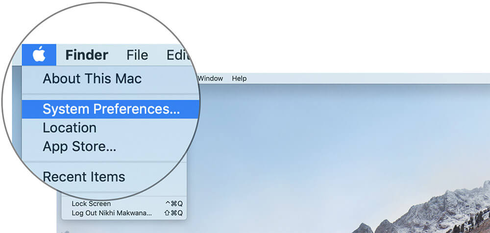 Click on System Preferences on Mac