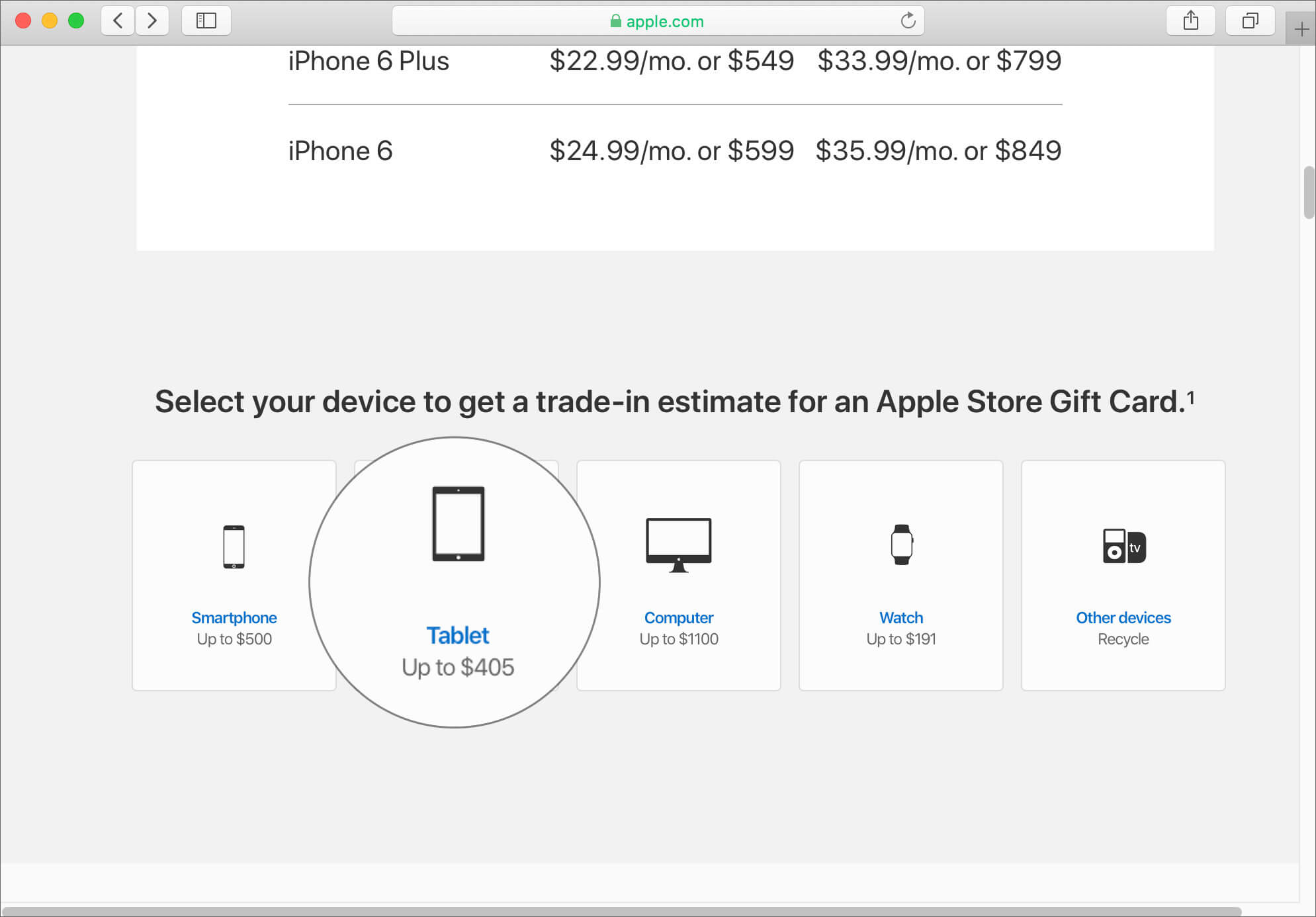 Click on Tablet in Trade in with Apple GiveBack Site