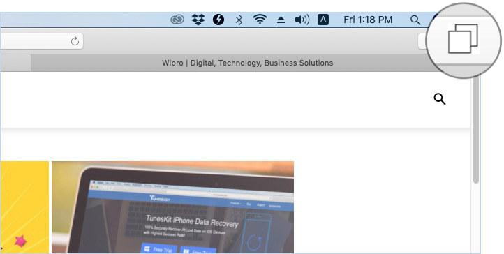 Click on Tabs Icon in Safari on Mac