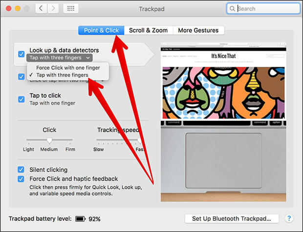 Click on Tap with three fingers in Trackpad in Mac System Preferences