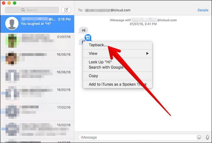 Click on TapBack in Messages on Mac