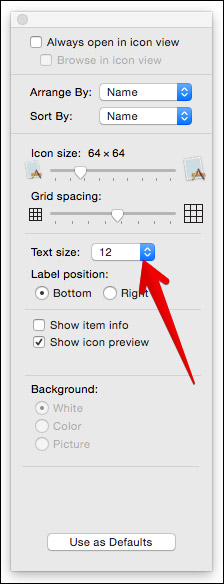 Click on Text Size in Finder on Mac