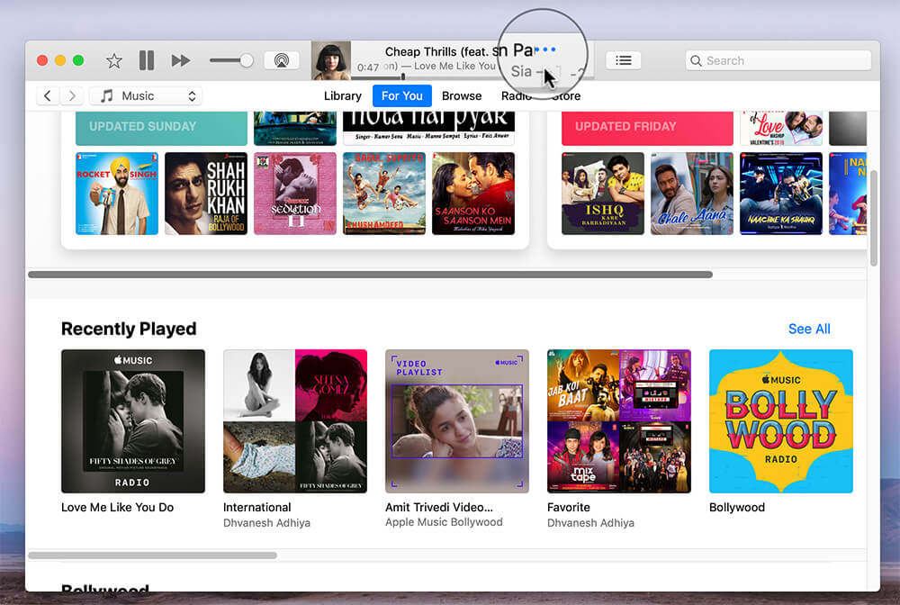 Click on Three Dots next to Songs in iTunes