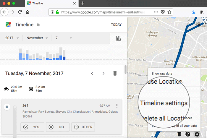 Click on Timeline Settings in Google Maps on Web
