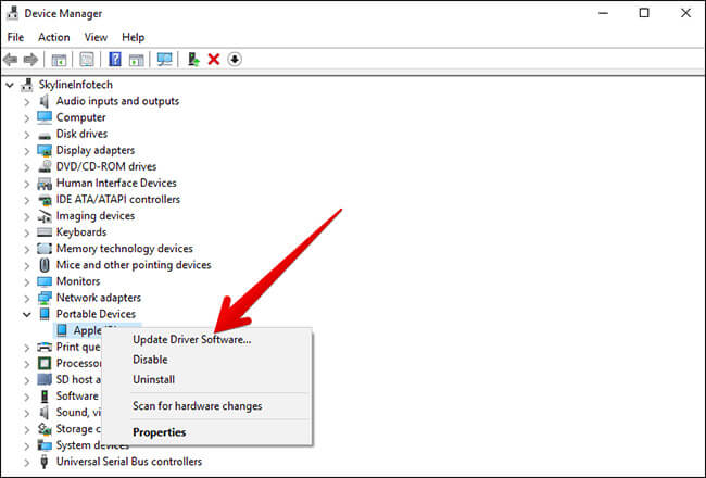 Click on Update Driver Software on Windows PC