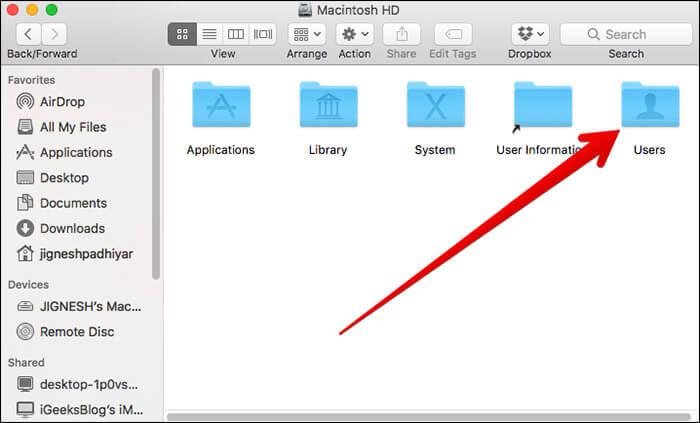 Click on Users in macOS Sierra on Mac